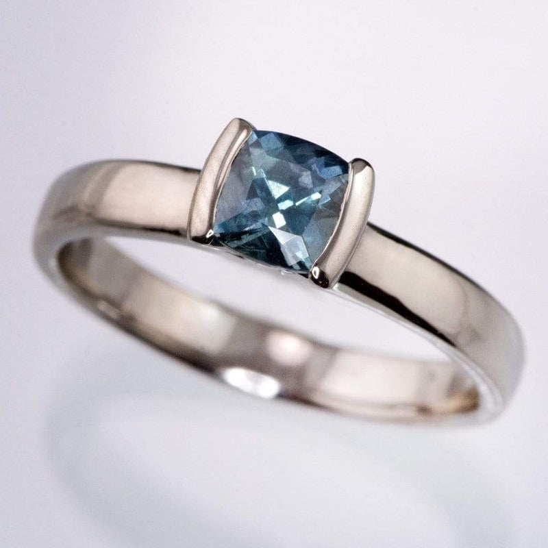 Cushion Teal Green/Blue Fair Trade Sapphire Modified Tension Solitaire Engagement Ring
