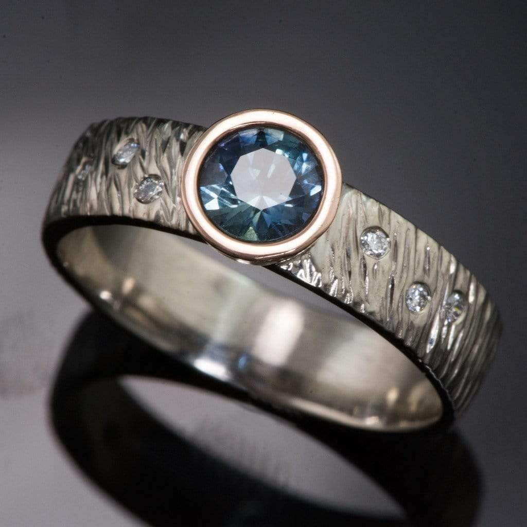 Rasp Textured Engagement Ring With Fair Trade Round Teal Montana Sapphire U0026  Diamonds Accents   By