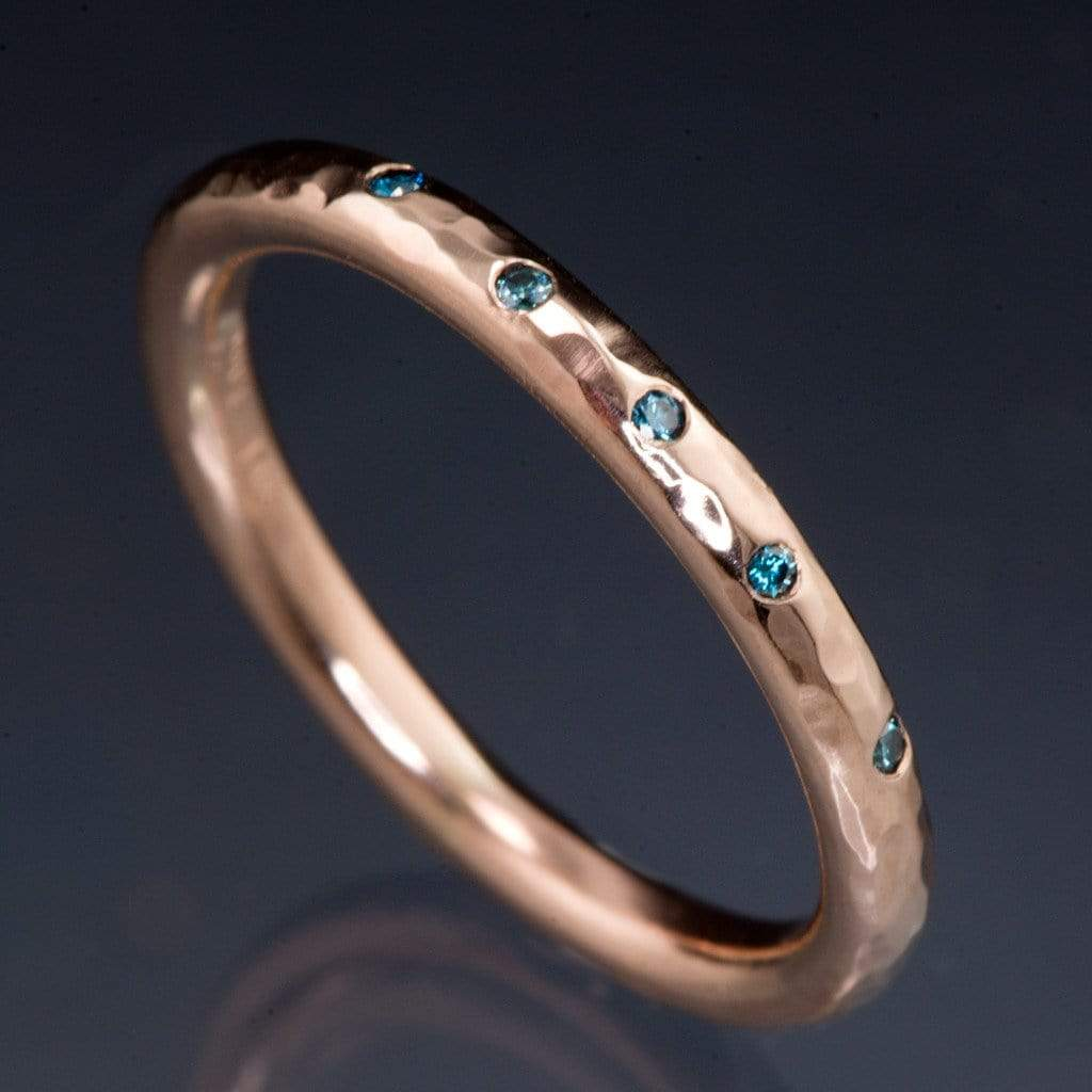 Teal Diamond Wedding Ring Narrow Hammered Texture Wedding Band - by Nodeform