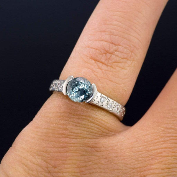 Fair Trade Blue / Green Malawi Sapphire Half Bezel Diamond Star Dust Engagement Ring - by Nodeform