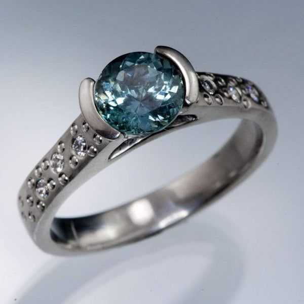Fair Trade Teal Portuguese Cut Malawi Sapphire Half Bezel Diamond Star Dust Engagement Ring