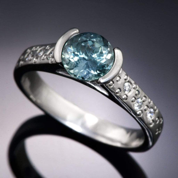 Fair Trade Teal Portuguese Cut Malawi Sapphire Half Bezel Diamond Star Dust Engagement Ring - by Nodeform