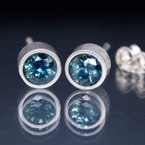 Fair Trade Teal Montana Sapphire Platinum Bezel Stud Earrings, Ready to Ship