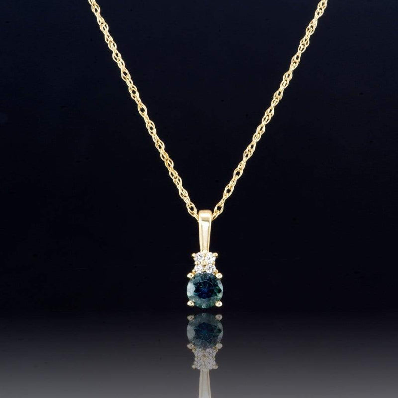 Teal Blue Green Fair Trade Montana Sapphire & Diamonds Yellow Gold Pendant Necklace, Ready to ship