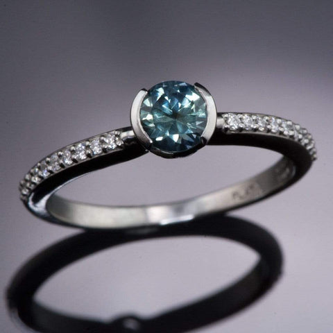 Teal / Blue Montana Sapphire Half Bezel Diamond Micro Pave Engagement Ring - by Nodeform