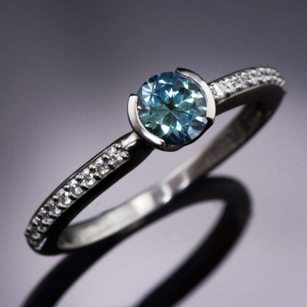 Teal / Blue Montana Sapphire Half Bezel Diamond Micro Pave Engagement Ring