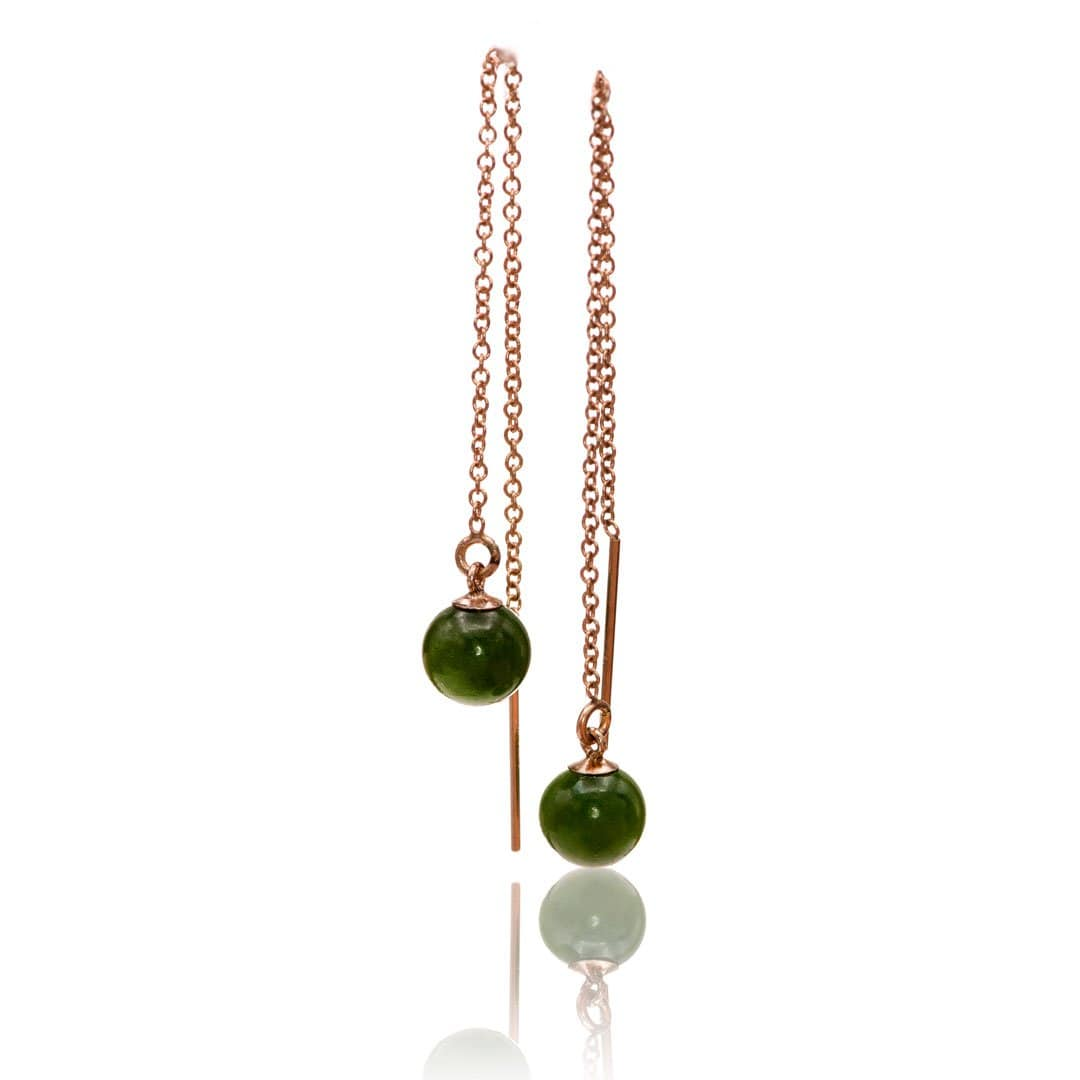 Jade Beads Long Threader Earrings in 14kGF Rose Gold Filled, Ready to Ship