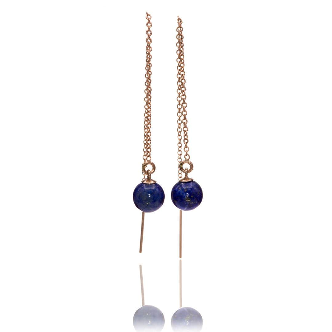 Lapis Beads Long Threader Earrings in 14kGF Rose Gold Filled, Ready to Ship