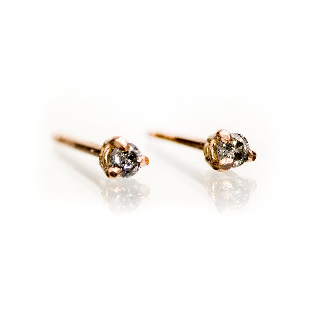 Tiny Gray Salt & Pepper Diamond Prong Set Stud Earrings (Pair)