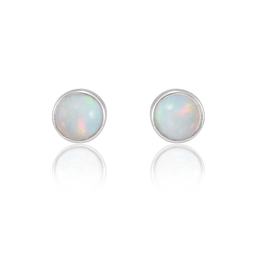 Tiny Opal Cabochon Stud Earrings in Sterling Silver, Ready to Ship