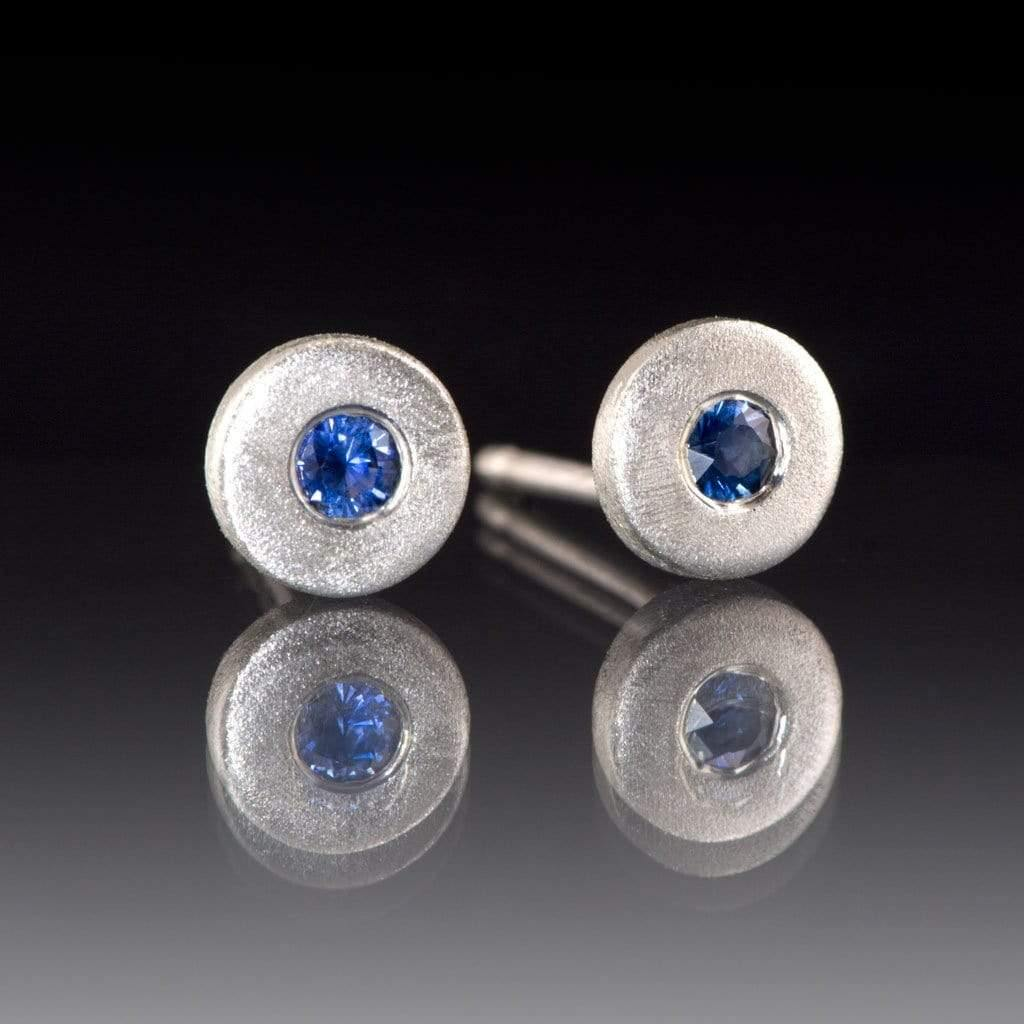AUSTRALIAN KINGS PLAIN BLUE SAPPHIRE Tiny Sterling Silver Disk Stud Earrings, Ready to Ship - by Nodeform