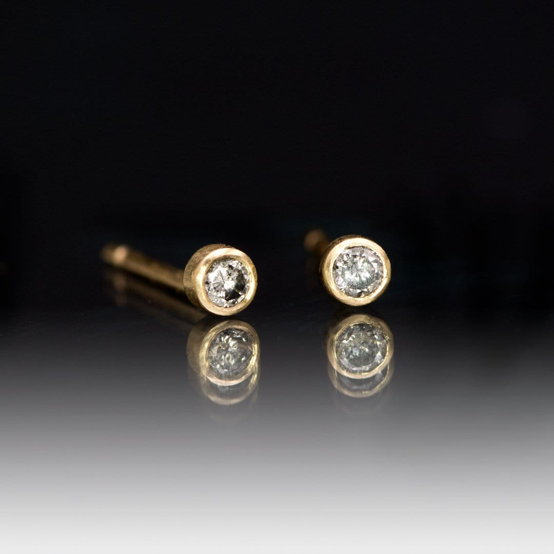 Tiny Gray Salt & Pepper Diamond Bezel Set 14kY Gold Stud Earrings, Ready to Ship