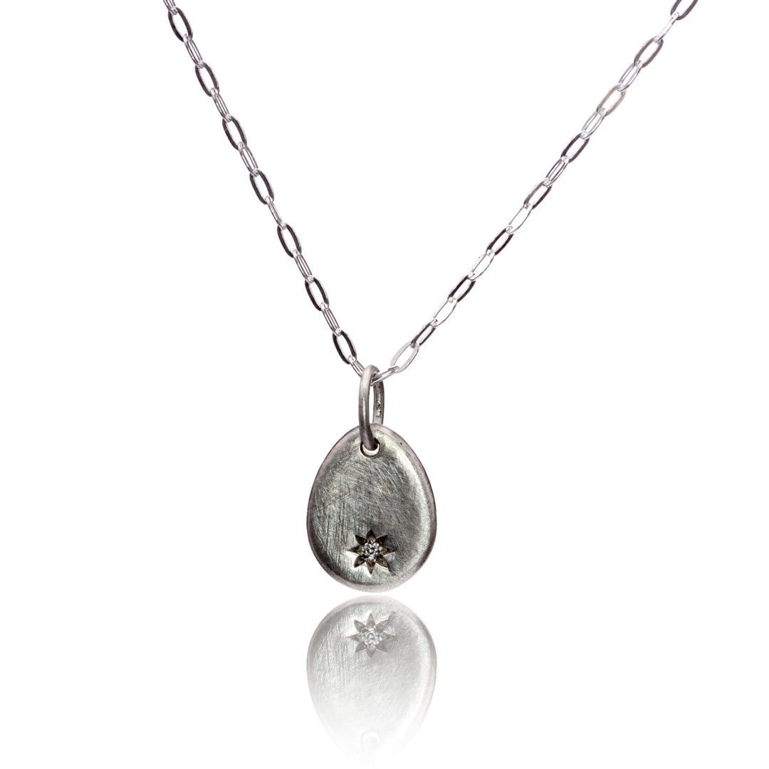Tiny Drop Shape Sterling Silver Pendant Necklace with Star Set Canadian Diamond, Ready to Ship