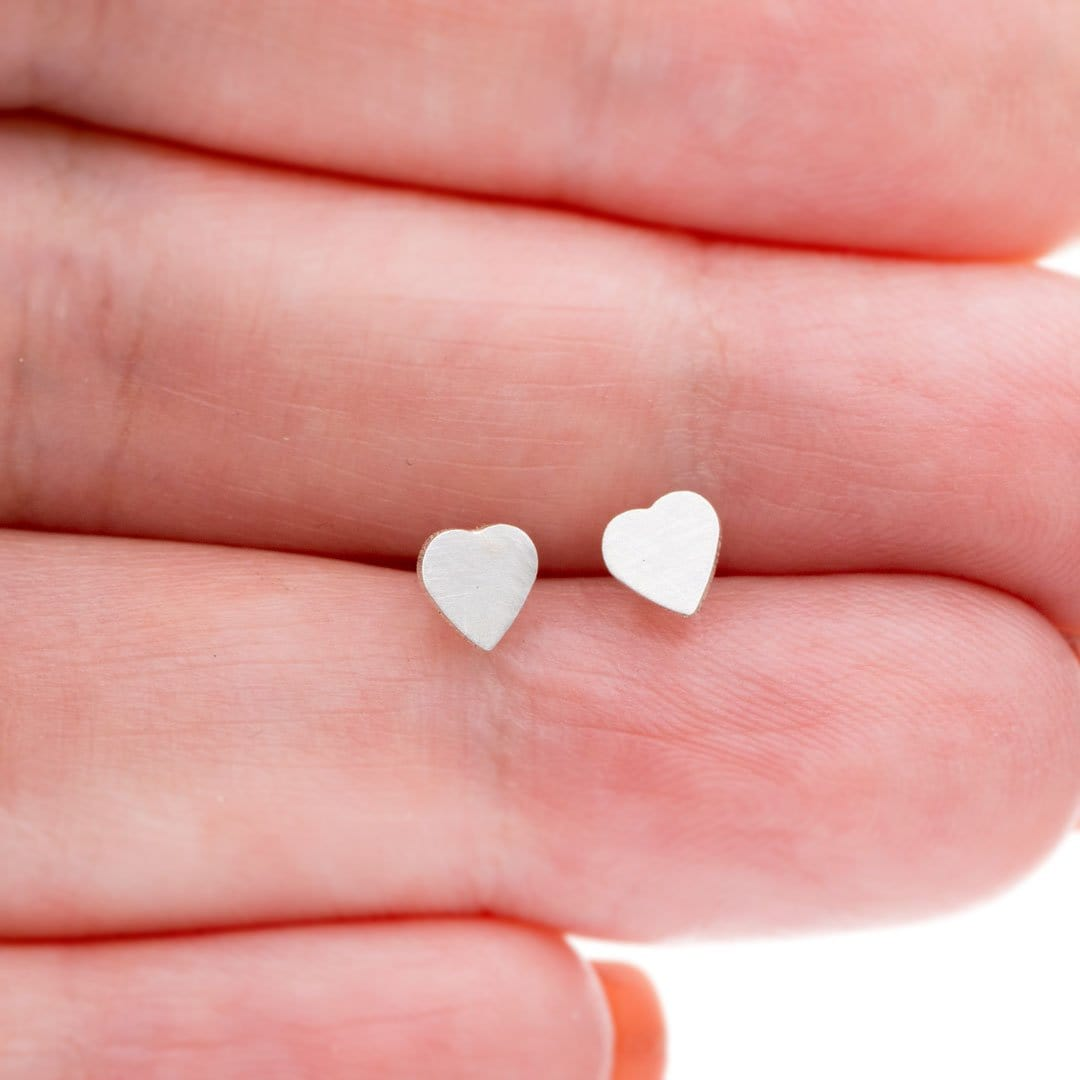 Tiny Sterling Silver Heart Stud Earrings, Ready to Ship