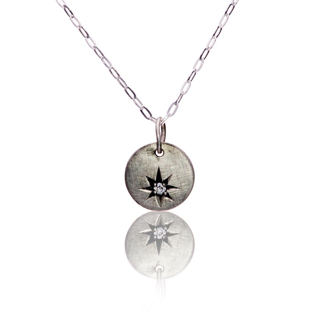 Tiny Round Sterling Silver Pendant Necklace with Star Set Moissanite, Ready to Ship