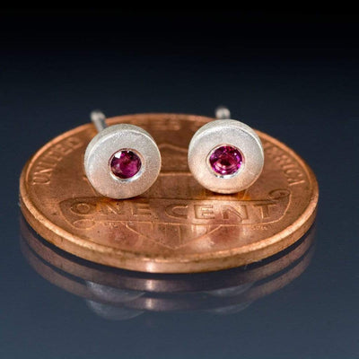 Tiny Ruby Sterling Silver Disk Stud Earrings