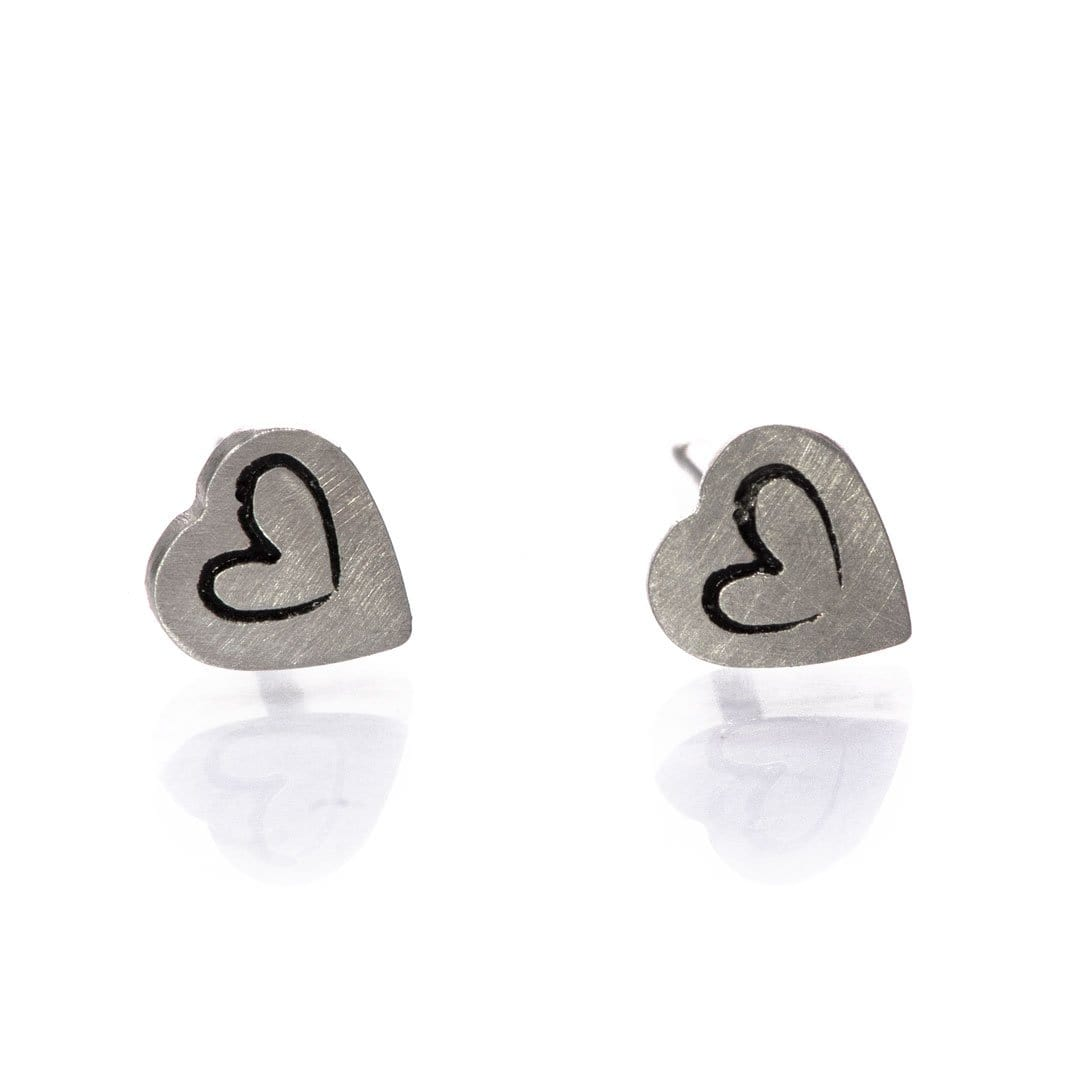 Tiny Stamped 14k White Gold Heart Stud Earrings, Ready to Ship