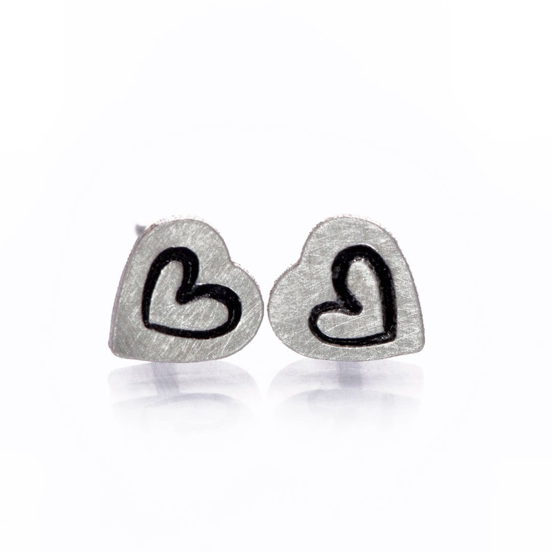 Tiny Stamped Sterling Silver Heart Stud Earrings, Ready to Ship