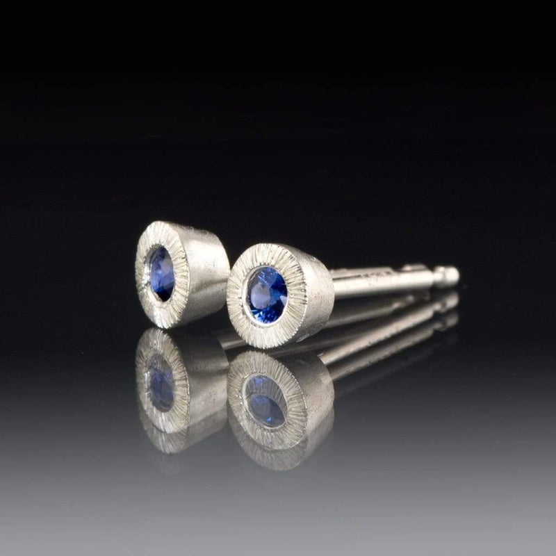 Australian Kings Plain Blue Sapphire Tiny Textured Sterling Silver Stud Earrings