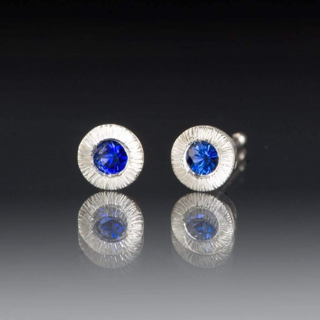Australian Kings Plain Blue Sapphire Tiny Textured Sterling Silver Stud Earrings, Ready to Ship
