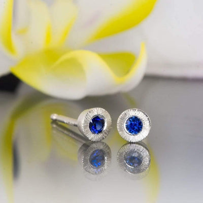 Australian Kings Plain Blue Sapphire Tiny Textured Sterling Silver Stud Earrings, ready to ship - by Nodeform