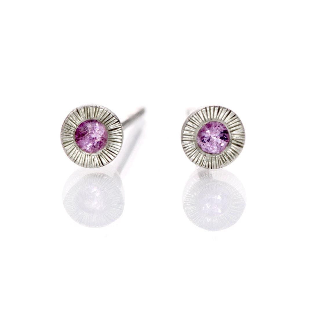 Pink Sapphire Tiny Textured Sterling Silver Stud Earrings, Ready to Ship