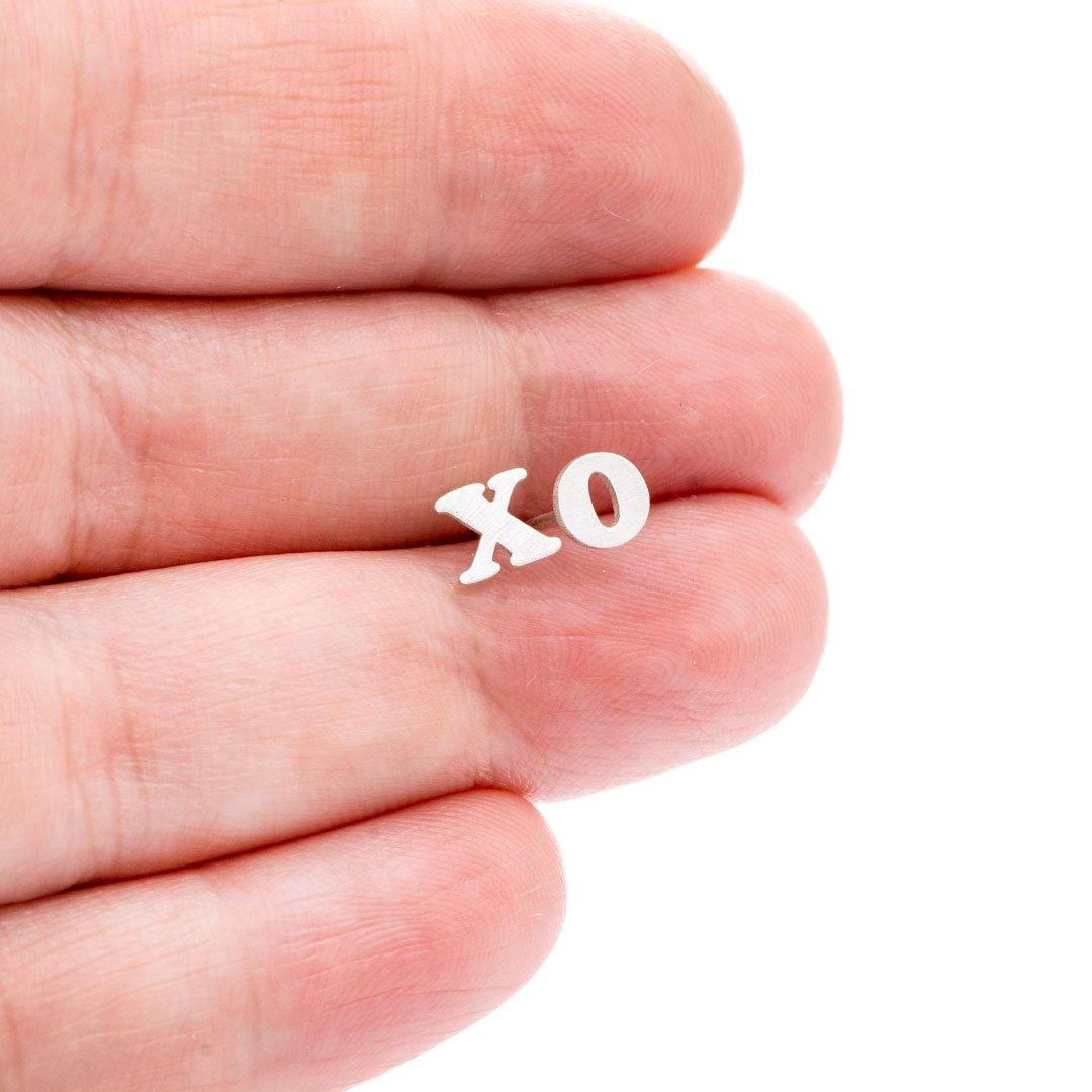 Tiny XO Hugs & Kisses Sterling Silver Stud Earrings, Ready to Ship - Nodeform