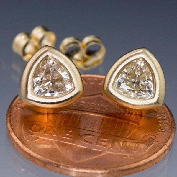 Trillion Moissanite Bezel Set 14k Yellow Gold Stud Earrings, Ready To Ship - by Nodeform