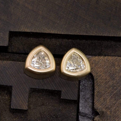 Trillion Moissanite Bezel Set Stud Earrings