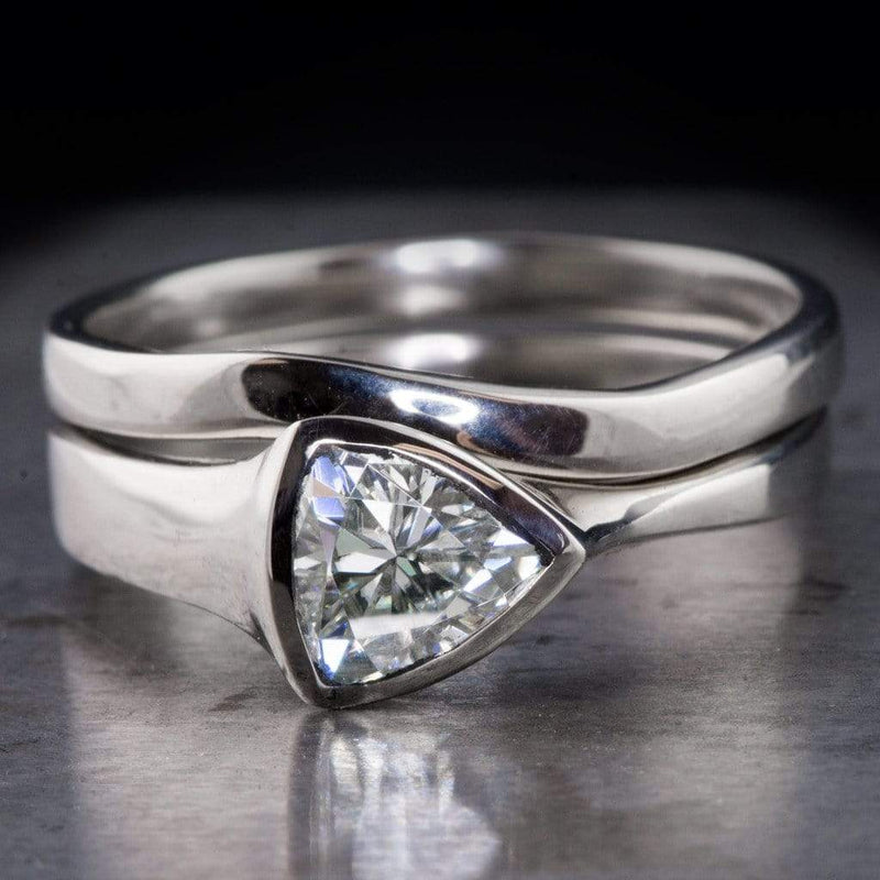 Tetra Bridal Set Trillion Moissanite Bezel Engagement Ring & Wedding Band - by Nodeform
