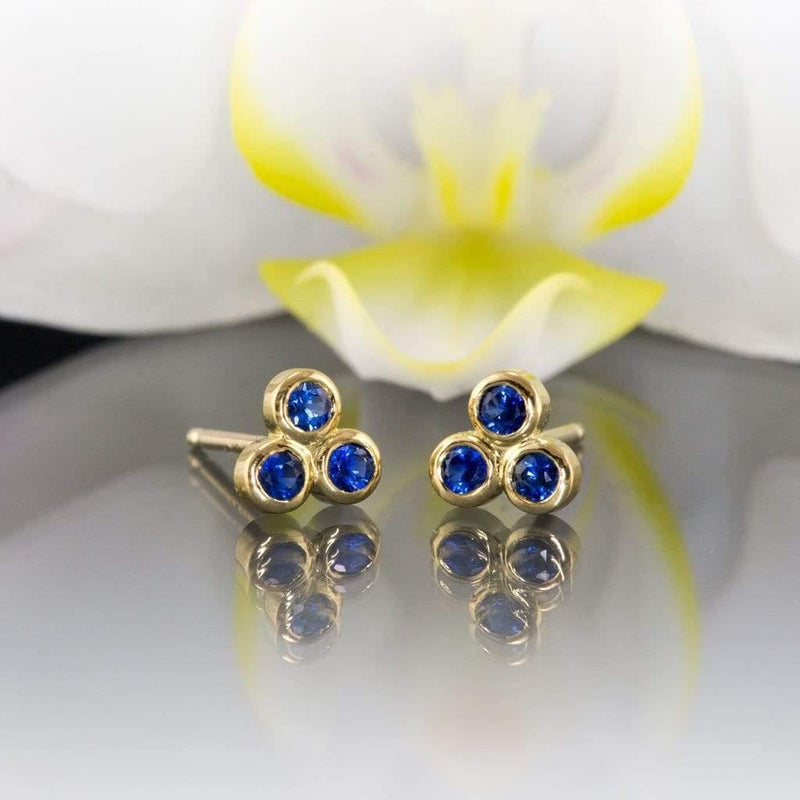 Australian Kings Plain Royal Blue Sapphire Trio Bezel Cluster Stud 18kY Gold Earrings, Ready To Ship - by Nodeform