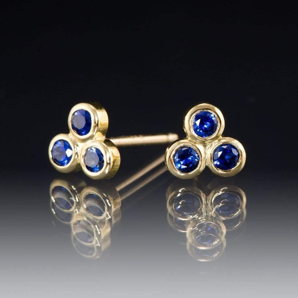 Australian Kings Plain Royal Blue Sapphire Trio Bezel Cluster Stud 18kY Gold Earrings, Ready To Ship