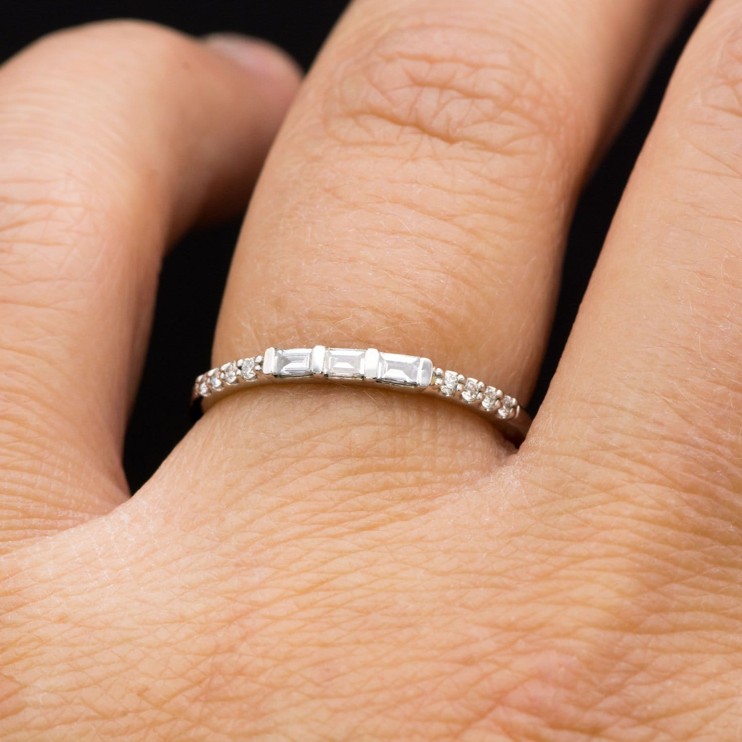 Triple Baguette Diamond Accented Stacking Promise Ring