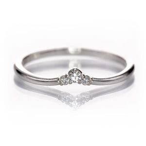 Vania Ring - V-shape Contoured Graduated Moissanite Stacking Wedding Ring in Sterling Silver {Ready to Ship}