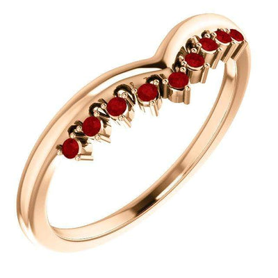 Valerie Band - V-Shape Contoured Accented Diamond, Moissanite, Ruby or Sapphire Wedding Ring All Genuine A grade Rubies / 14k Rose Gold Ring
