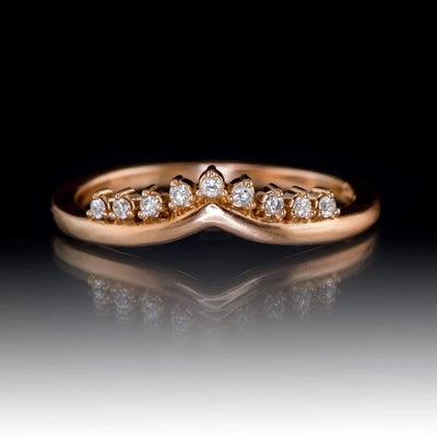 Valerie Diamond Band - V-Shape Contoured Accented Wedding Ring in Rose Gold, Ready to Size 5-9