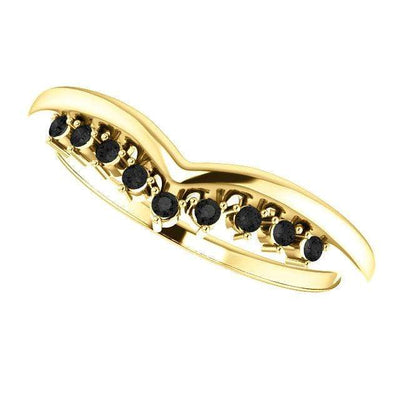 Valerie Band - V-Shape Contoured Accented Diamond, Moissanite, Ruby or Sapphire Wedding Ring All Black Diamonds / 14K Yellow Gold Ring