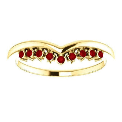 Valerie Band - V-Shape Contoured Accented Diamond, Moissanite, Ruby or Sapphire Wedding Ring All Genuine A grade Rubies / 14K Yellow Gold Ring