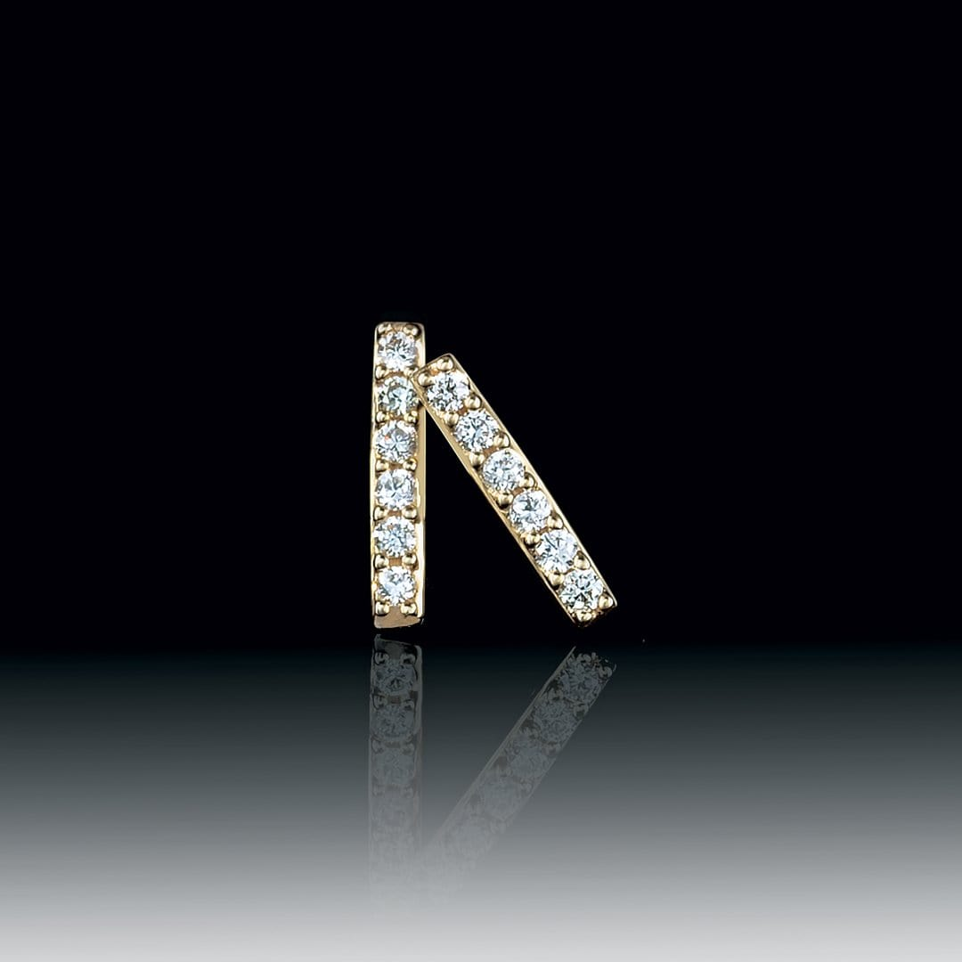 Vertical Diamond Bar Studs Earrings