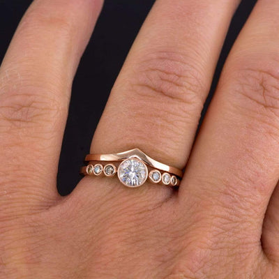 Vicky Ring V Shaped Contoured Curved Skinny Thin Wedding Ring Stacking Band
