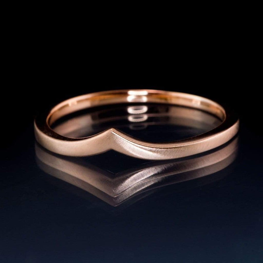Vicky Ring V Shaped Contoured Curved Skinny Thin Rose Gold Stacking Wedding Ring, Ready to Ship