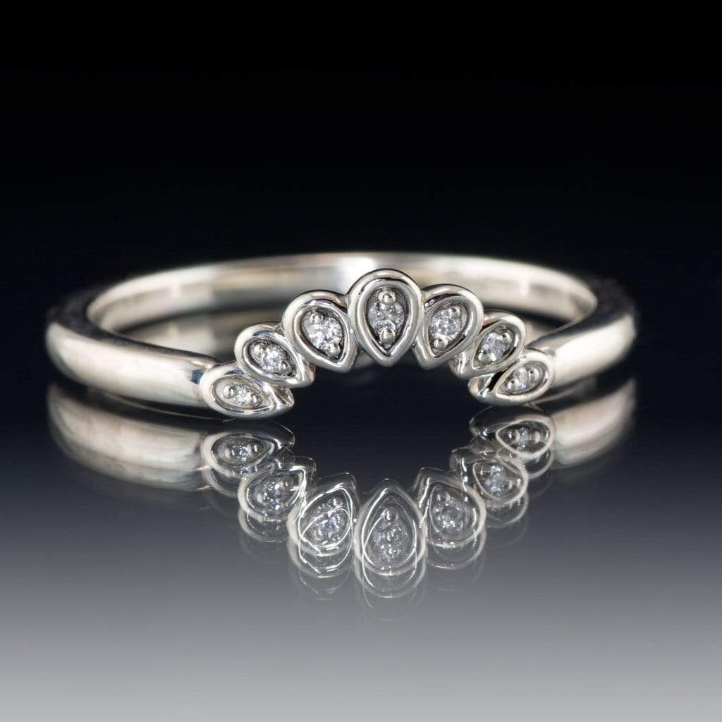 Fleur Band Vintage Inspired Contoured Diamond Silver Stacking Ring