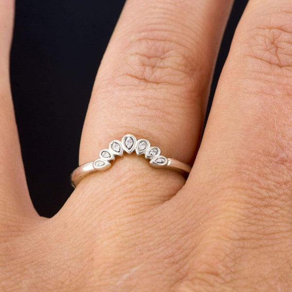 Fleur Band - Vintage Inspired Contoured Diamond Silver Stacking Ring, Ready to Size 5-8 - by Nodeform