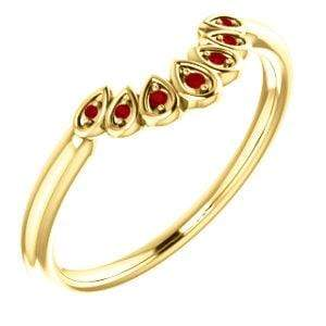 Vintage Inspired Contoured Ruby Stacking Ring Wedding Anniversary Band