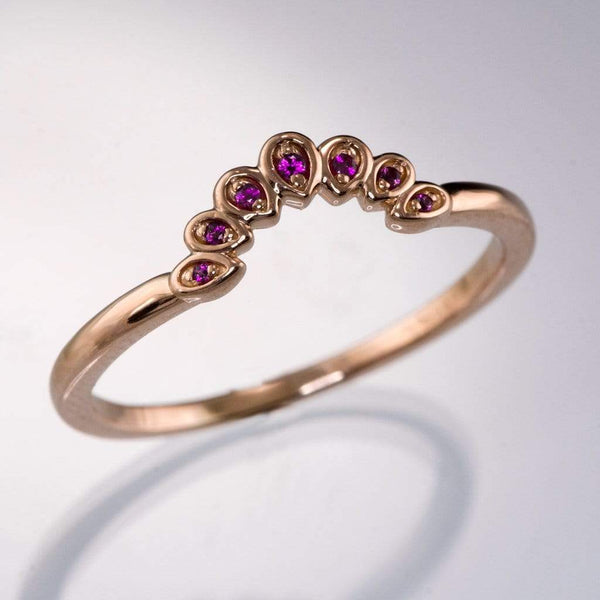 Fleur Band - Vintage Inspired Contoured Ruby Stacking Ring Wedding Anniversary Band - by Nodeform