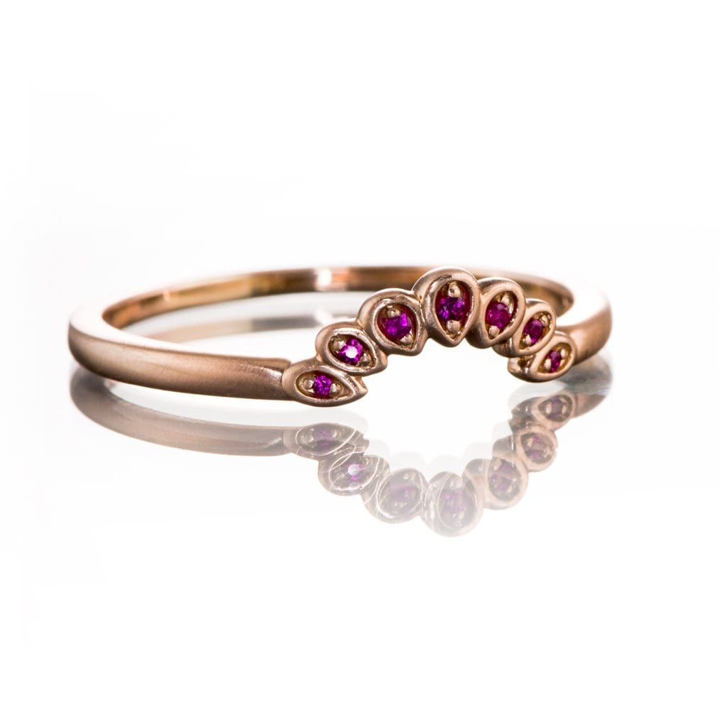 Fleur Band - Vintage Inspired Contoured Ruby Stacking Ring Wedding Anniversary Band