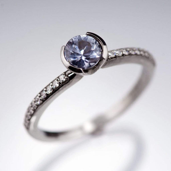 Blue/ Green Eldorado Bar Montana Sapphire Half Bezel Diamond Micro Pave Engagement Ring