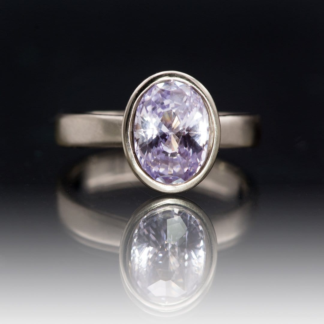Oval 2.18ct Lilac Sapphire Peekaboo Bezel Solitaire Engagement Ring