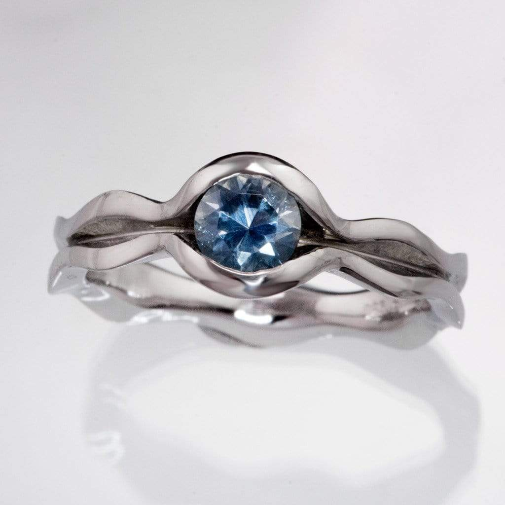 Blue Montana Sapphire Engagement Ring  By  Nodeform