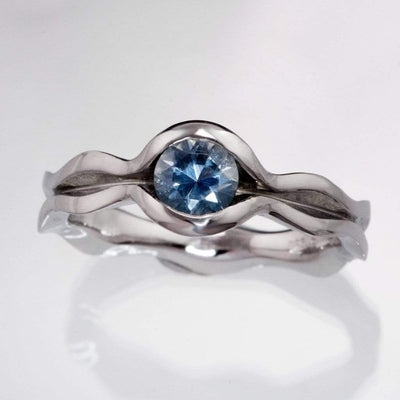 Wave Fair Trade Teal /  Blue Montana Sapphire Engagement Ring - by Nodeform
